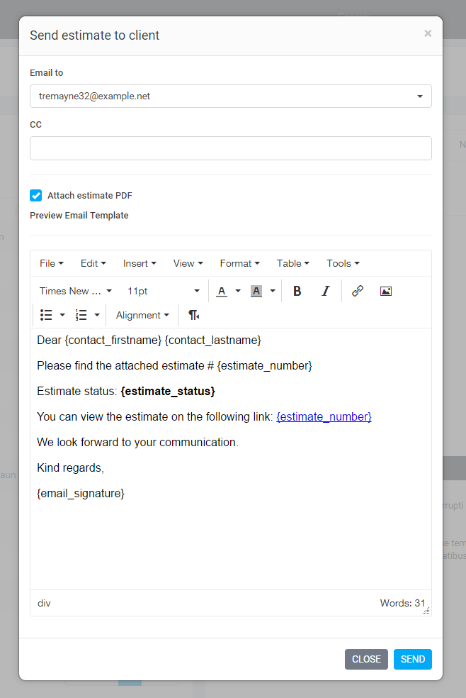Send Estimate To Email WEBNOO Support - Estimate email template